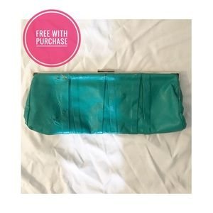 Handbags - Vintage teal leather clutch purse 60s retro cute